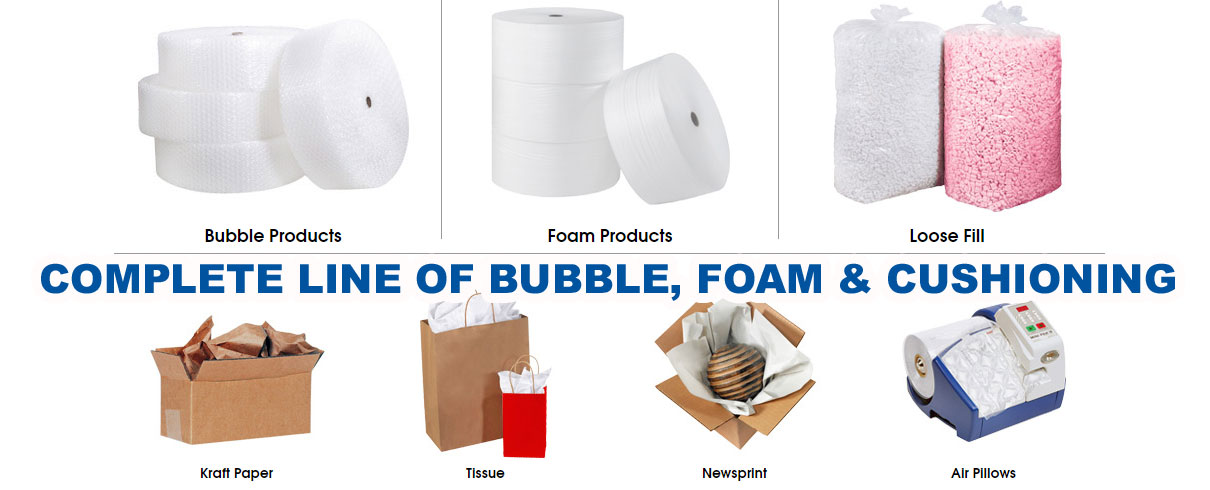 Complete line of packaging bubble,foam & cushioning