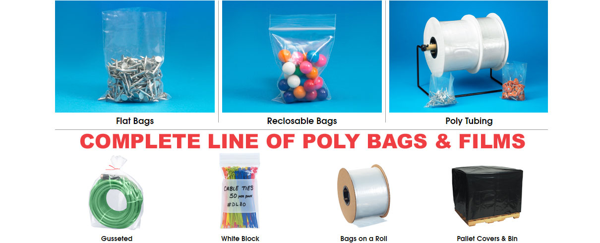 Complete line of packaging poly bags & films