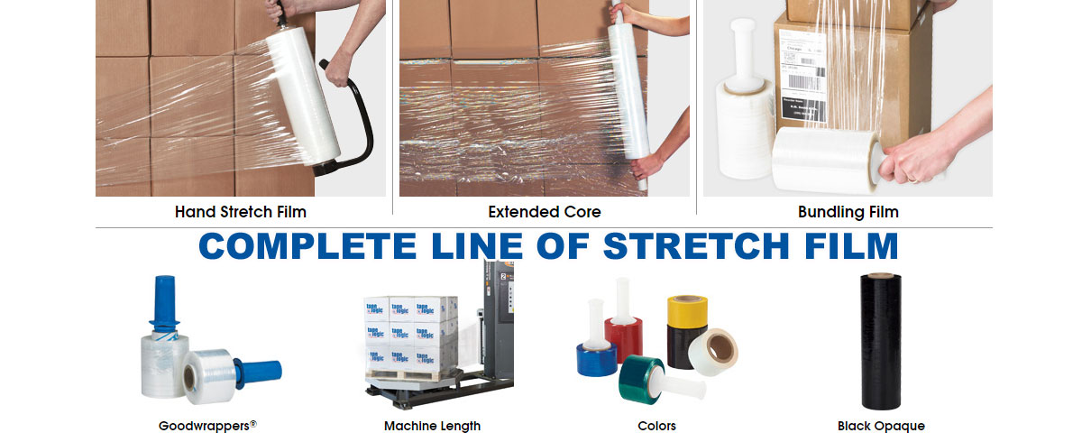 Complete line of packaging stretch film